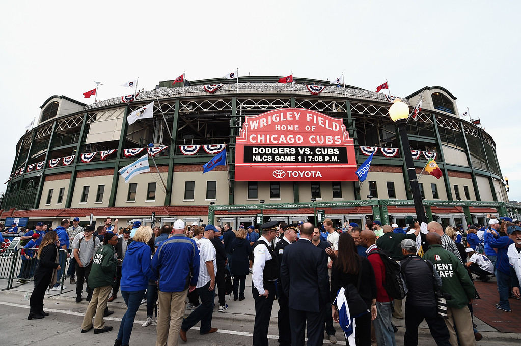 . CHICAGO, IL - OCTOBER 15:  Fans are seen outside of Wrigley Field prior to game one of the National League Championship Series between the Chicago Cubs and the Los Angeles Dodgers on October 15, 2016 in Chicago, Illinois.  (Photo by Stacy Revere/Getty Images)