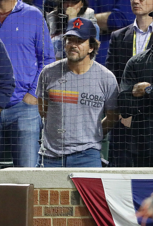 . CHICAGO, IL - OCTOBER 15:  Musician Eddie Vedder looks on during game one of the National League Championship Series between the Chicago Cubs and the Los Angeles Dodgers at Wrigley Field on October 15, 2016 in Chicago, Illinois.  (Photo by Jonathan Daniel/Getty Images)