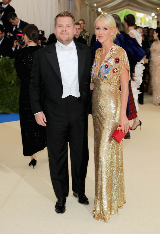 """. NEW YORK, NY - MAY 01:  James Corden (L) and Julia Carey attend the \""""Rei Kawakubo/Comme des Garcons: Art Of The In-Between\"""" Costume Institute Gala at Metropolitan Museum of Art on May 1, 2017 in New York City.  (Photo by Neilson Barnard/Getty Images)"""