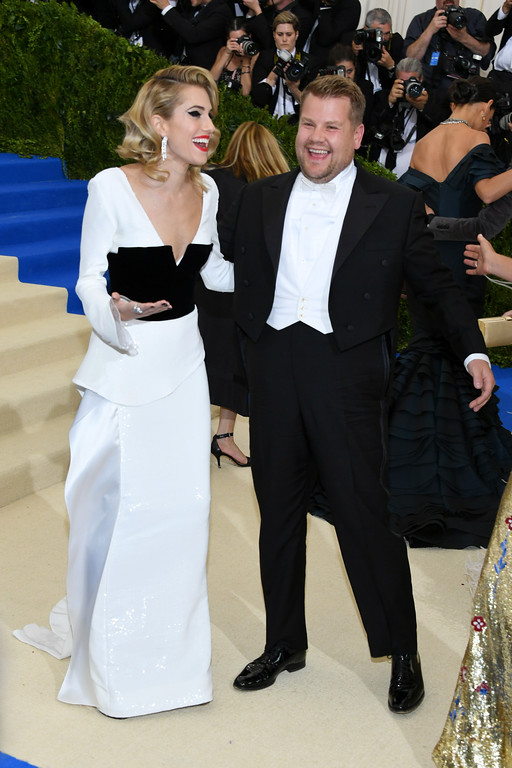 """. NEW YORK, NY - MAY 01:  Allison Williams and James Corden attends the \""""Rei Kawakubo/Comme des Garcons: Art Of The In-Between\"""" Costume Institute Gala at Metropolitan Museum of Art on May 1, 2017 in New York City.  (Photo by Dia Dipasupil/Getty Images For Entertainment Weekly)"""