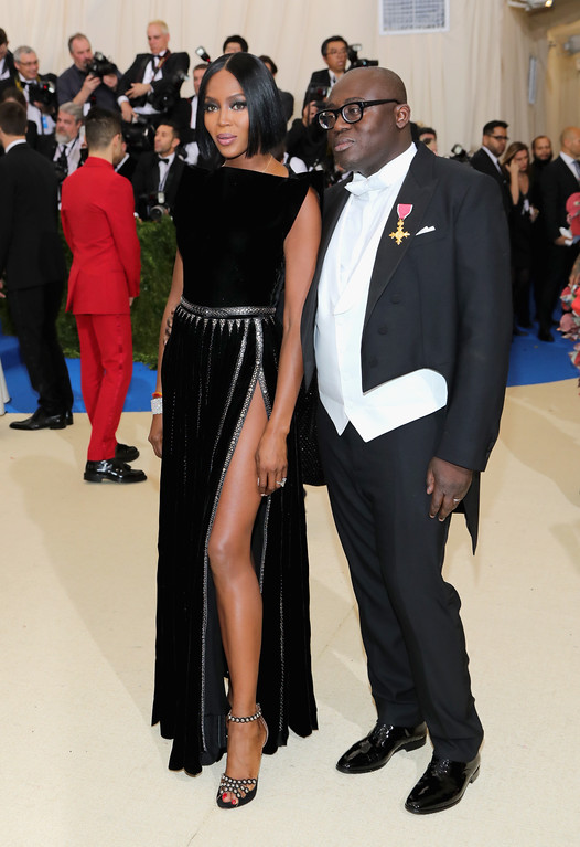""". NEW YORK, NY - MAY 01:  Naomi Campbell and Edward Enninful attend the \""""Rei Kawakubo/Comme des Garcons: Art Of The In-Between\"""" Costume Institute Gala at Metropolitan Museum of Art on May 1, 2017 in New York City.  (Photo by Neilson Barnard/Getty Images)"""