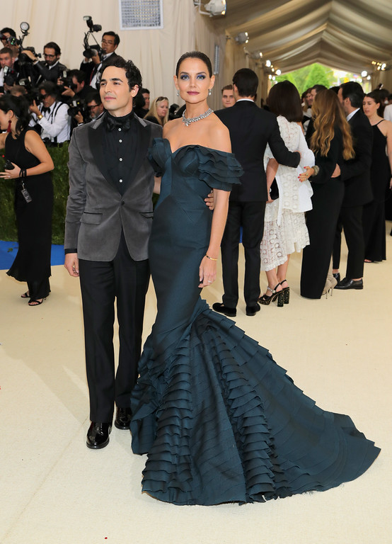 """. NEW YORK, NY - MAY 01:  Zac Posen (L) and Katie Holmes attends the \""""Rei Kawakubo/Comme des Garcons: Art Of The In-Between\"""" Costume Institute Gala at Metropolitan Museum of Art on May 1, 2017 in New York City.  (Photo by Neilson Barnard/Getty Images)"""