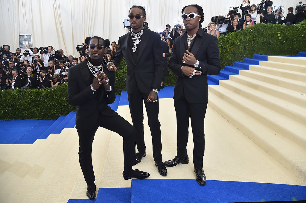 """. NEW YORK, NY - MAY 01:  Takeoff, Quavo and Offset of the group Migos attend the \""""Rei Kawakubo/Comme des Garcons: Art Of The In-Between\"""" Costume Institute Gala at Metropolitan Museum of Art on May 1, 2017 in New York City.  (Photo by Theo Wargo/Getty Images For US Weekly)"""