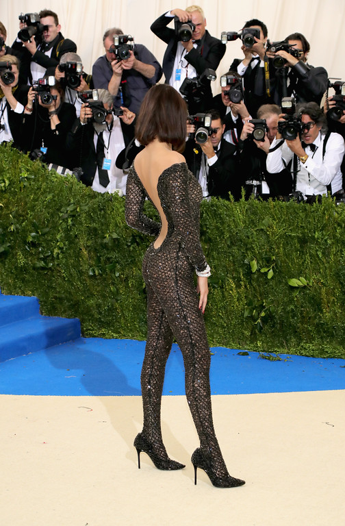 """. NEW YORK, NY - MAY 01:  Bella Hadid attends the \""""Rei Kawakubo/Comme des Garcons: Art Of The In-Between\"""" Costume Institute Gala at Metropolitan Museum of Art on May 1, 2017 in New York City.  (Photo by Neilson Barnard/Getty Images)"""