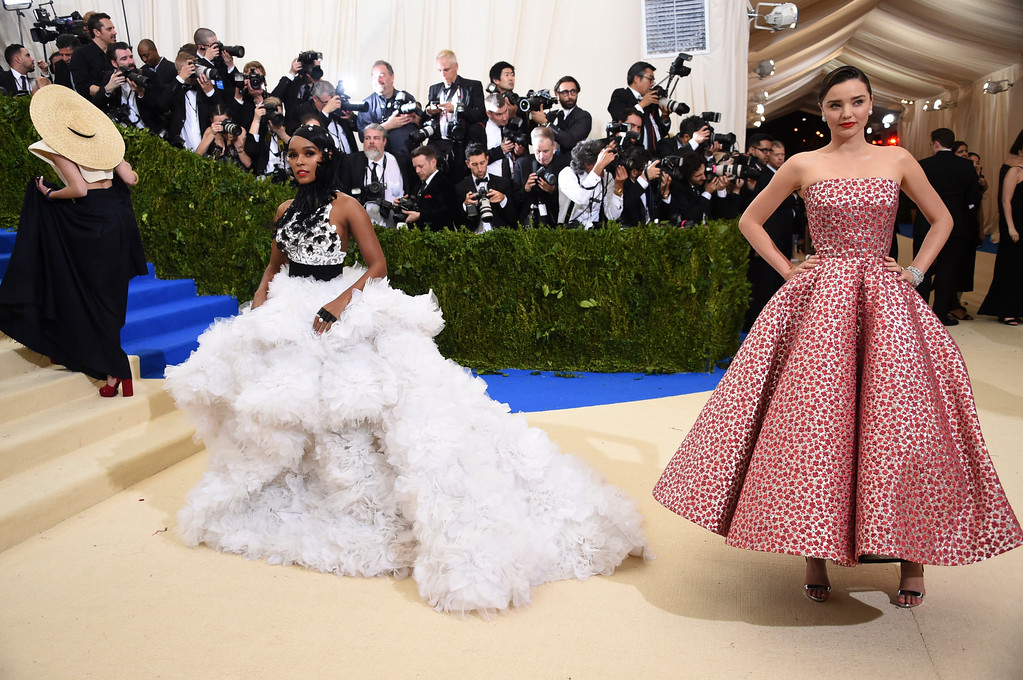 . Janelle Monae, left, and Miranda Kerr attend The Metropolitan Museum of Art\'s Costume Institute benefit gala celebrating the opening of the Rei Kawakubo/Comme des Garçons: Art of the In-Between exhibition on Monday, May 1, 2017, in New York. (Photo by Evan Agostini/Invision/AP)