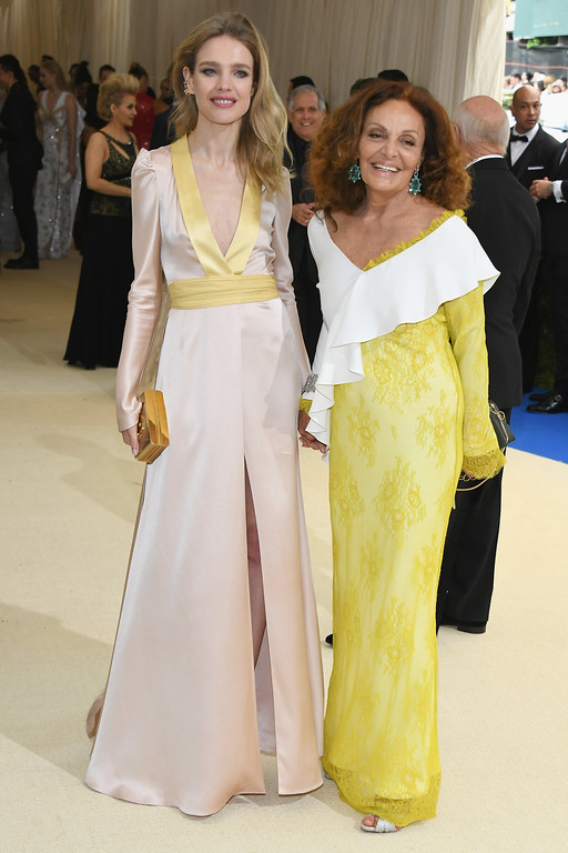 """. NEW YORK, NY - MAY 01: Diane von Furstenberg (L) and Natalia Vodianova  attend the \""""Rei Kawakubo/Comme des Garcons: Art Of The In-Between\"""" Costume Institute Gala at Metropolitan Museum of Art on May 1, 2017 in New York City.  (Photo by Dia Dipasupil/Getty Images For Entertainment Weekly)"""