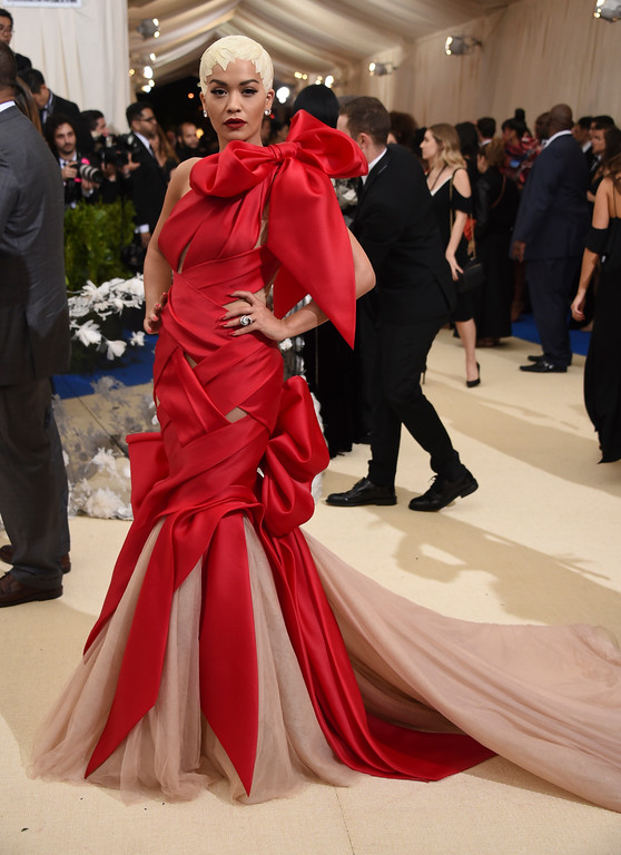 . Rita Ora attends The Metropolitan Museum of Art\'s Costume Institute benefit gala celebrating the opening of the Rei Kawakubo/Comme des Garçons: Art of the In-Between exhibition on Monday, May 1, 2017, in New York. (Photo by Evan Agostini/Invision/AP)