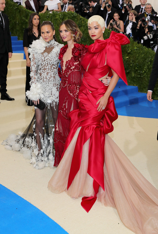 """. NEW YORK, NY - MAY 01:  (L-R) Chrissy Teigen, Georgina Chapman and Rita Ora attend the \""""Rei Kawakubo/Comme des Garcons: Art Of The In-Between\"""" Costume Institute Gala at Metropolitan Museum of Art on May 1, 2017 in New York City.  (Photo by Neilson Barnard/Getty Images)"""