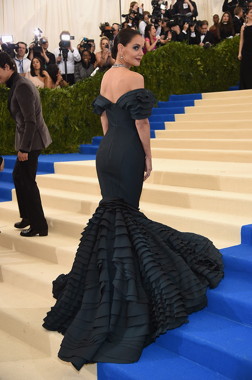 """. NEW YORK, NY - MAY 01:  Katie Holmes attends the \""""Rei Kawakubo/Comme des Garcons: Art Of The In-Between\"""" Costume Institute Gala at Metropolitan Museum of Art on May 1, 2017 in New York City.  (Photo by Dimitrios Kambouris/Getty Images)"""