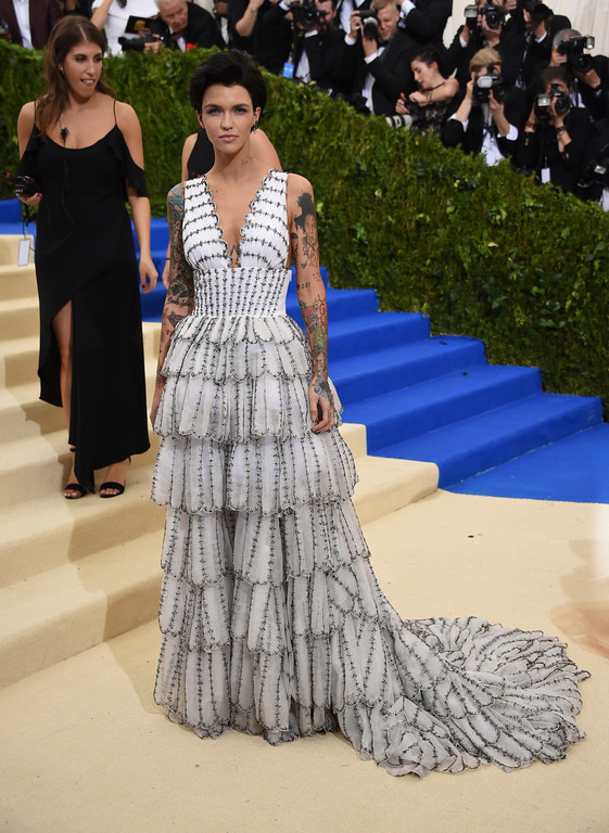 . Ruby Rose attends The Metropolitan Museum of Art\'s Costume Institute benefit gala celebrating the opening of the Rei Kawakubo/Comme des Garçons: Art of the In-Between exhibition on Monday, May 1, 2017, in New York. (Photo by Evan Agostini/Invision/AP)
