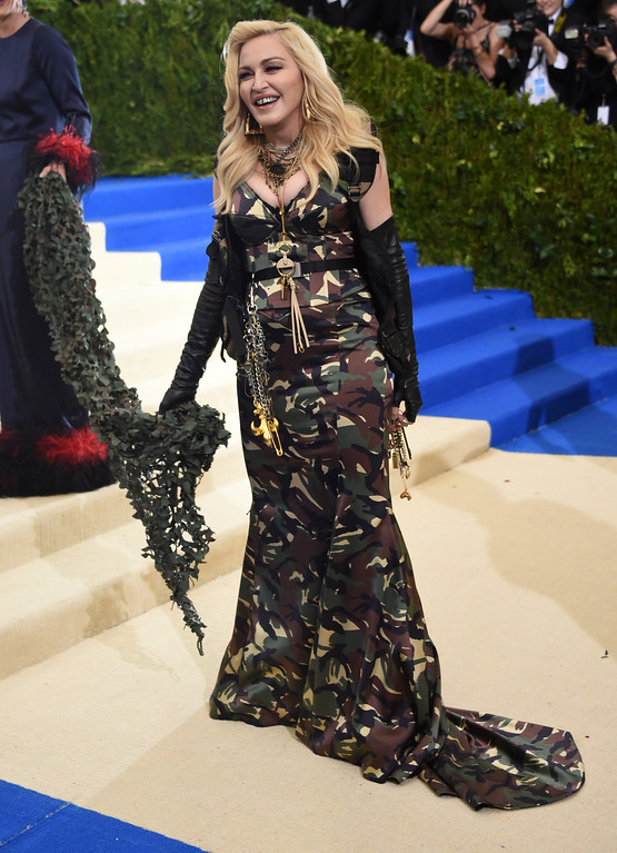 . Madonna attends The Metropolitan Museum of Art\'s Costume Institute benefit gala celebrating the opening of the Rei Kawakubo/Comme des Garçons: Art of the In-Between exhibition on Monday, May 1, 2017, in New York. (Photo by Evan Agostini/Invision/AP)