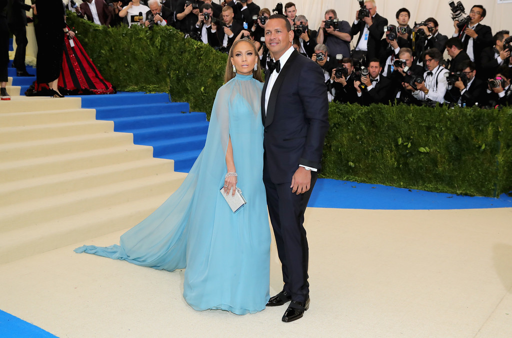 """. NEW YORK, NY - MAY 01:  Jennifer Lopez (L) and Alex Rodriguez attend the \""""Rei Kawakubo/Comme des Garcons: Art Of The In-Between\"""" Costume Institute Gala at Metropolitan Museum of Art on May 1, 2017 in New York City.  (Photo by Neilson Barnard/Getty Images)"""