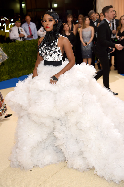 """. NEW YORK, NY - MAY 01:  Janelle Monae attends the \""""Rei Kawakubo/Comme des Garcons: Art Of The In-Between\"""" Costume Institute Gala at Metropolitan Museum of Art on May 1, 2017 in New York City.  (Photo by Dimitrios Kambouris/Getty Images)"""