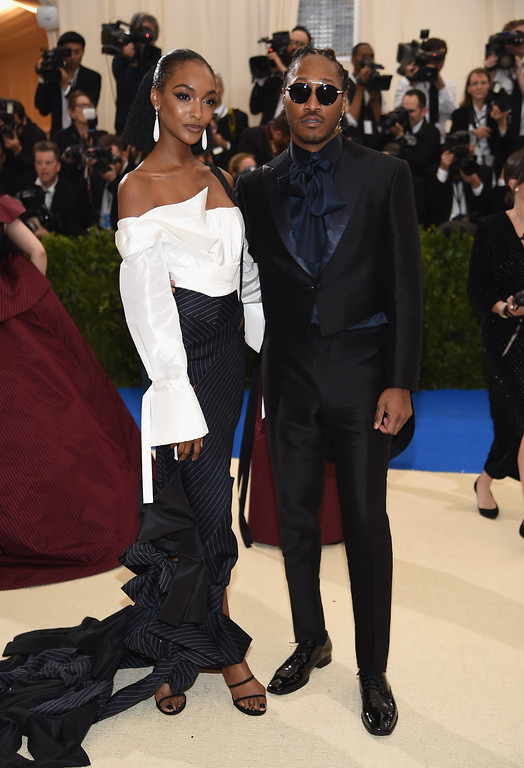 """. NEW YORK, NY - MAY 01:  Jourdan Dunn (L) and Future attend the \""""Rei Kawakubo/Comme des Garcons: Art Of The In-Between\"""" Costume Institute Gala at Metropolitan Museum of Art on May 1, 2017 in New York City.  (Photo by Dimitrios Kambouris/Getty Images)"""