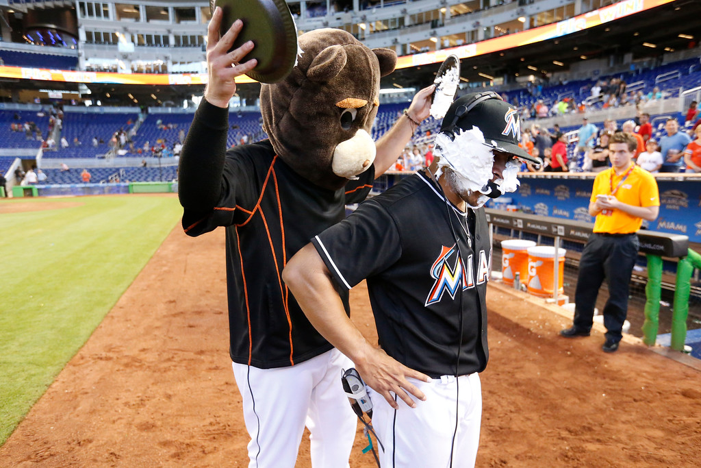 . Miami Marlins\' Jose Fernandez, rear, hits A.J. Ramos with shaving cream pies as he does post game interviews after a baseball game against the Cincinnati Reds, Saturday, July 9, 2016, in Miami. Ramos pitched around a walk in the ninth for his 27th save as the Marlins defeated the Reds 4-2. (AP Photo/Wilfredo Lee)