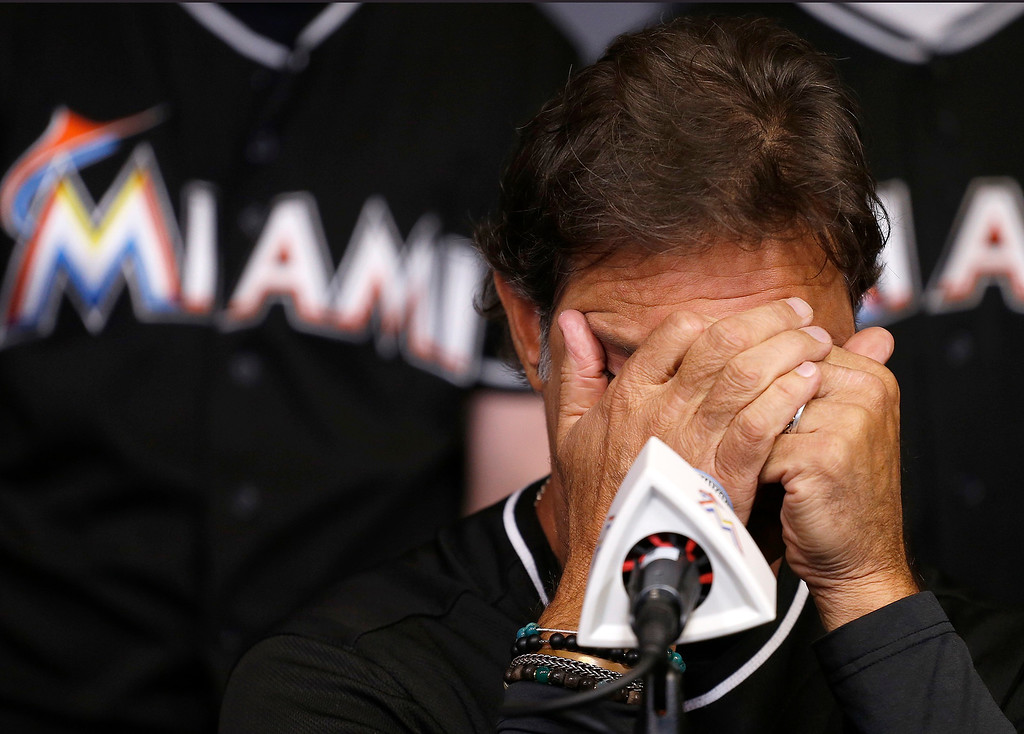 . Miami Marlins manager Don Mattingly struggles with his emotions as he speaks during the team\'s press conference about the death of Jose Fernandez, Sunday, Sept. 25, 2016, after the announcement of the death of their star pitcher, Jose Fernandez, in an early morning boat accident Sunday, in Miami Beach. (Carl Juste/Miami Herald via AP)