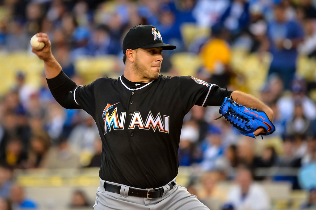 """. File - Marlins Jose Fernandez started against Dodgers Kenta Maeda at Dodger Stadium Thursday, April 28, 2016. Fernandez was the \""""probable\"""" operator of a speeding boat that crashed into a Miami Beach jetty on Sept. 25, 2016, killing the baseball star and two other men, according to a report issued Thursday, March 16, 2017, by the Florida Fish and Wildlife Conservation Commission, which investigated the accident. ( Photo by David Crane, Los Angeles Daily News/SCNG )"""