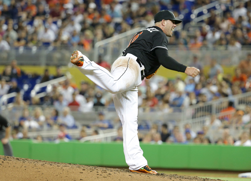 . Miami Marlins starting pitcher Jose Fernandez follows through on a pitch during the sixth inning of a baseball game against the New York Mets, Saturday, July 23, 2016, in Miami. The Marlins defeated the Mets 7-2. (AP Photo/Lynne Sladky)