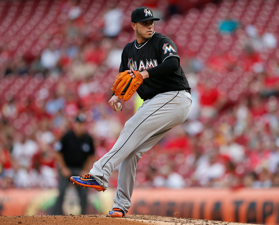 . Miami Marlins starting pitcher Jose Fernandez throws against the Cincinnati Reds during the thrid inning of a baseball game, Thursday, Aug. 18, 2016, in Cincinnati. (AP Photo/Gary Landers)