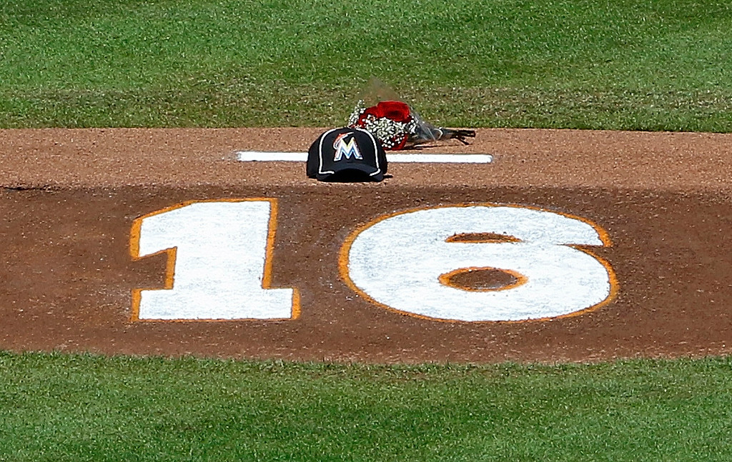 . MIAMI, FL - SEPTEMBER 25:  Flowers, a hat and the number of Miami Marlins pitcher Jose Fernandez is shown on the pitching mound at Marlins Park on September 25, 2016 in Miami, Florida. Fernandez died in a boating accident.  (Photo by Joe Skipper/Getty Images)
