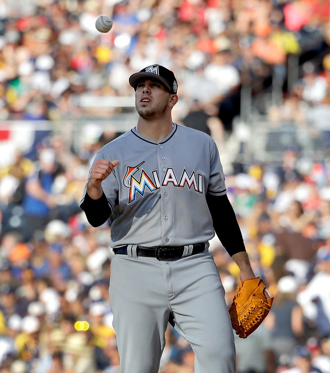 . National League pitcher Jose Fernandez, of the Miami Marlins, tosses the ball during the second inning of the MLB baseball All-Star Game, Tuesday, July 12, 2016, in San Diego. (AP Photo/Gregory Bull)