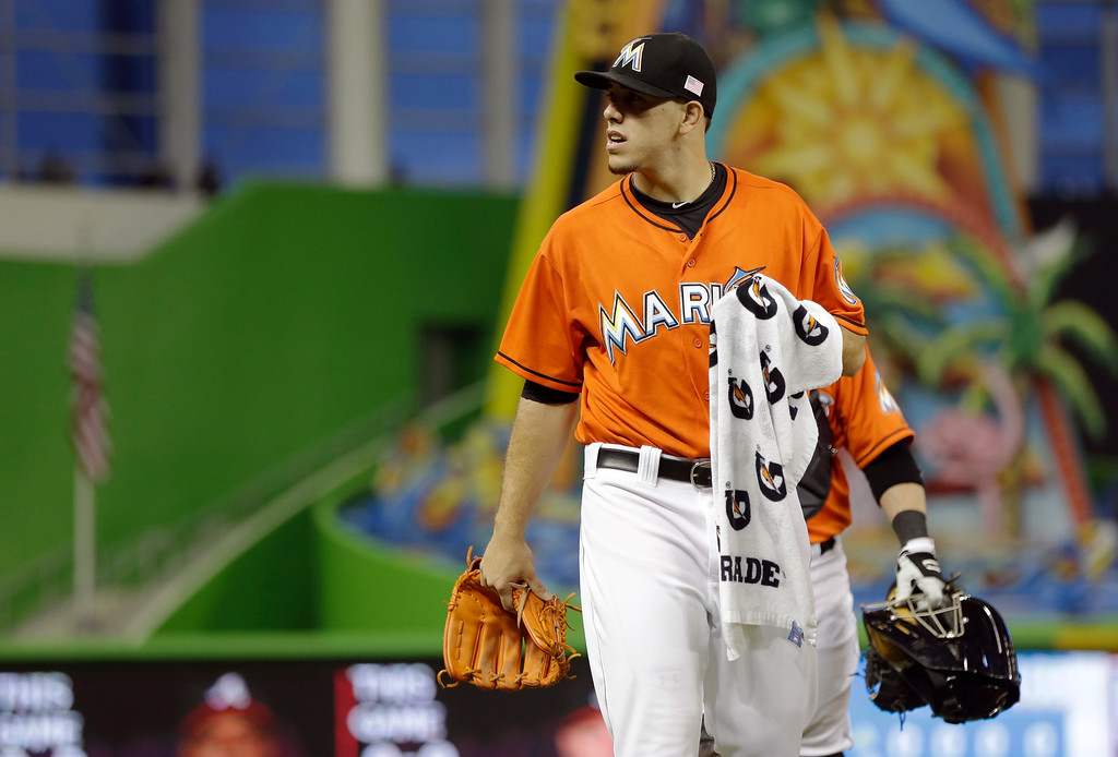 . Miami Marlins starting pitcher Jose Fernandez walks onto the field field before a baseball game against the Atlanta Braves, Wednesday, Sept. 11, 2013, in Miami. Fernandez pitches his last game of the season Wednesday night. (AP Photo/Lynne Sladky)