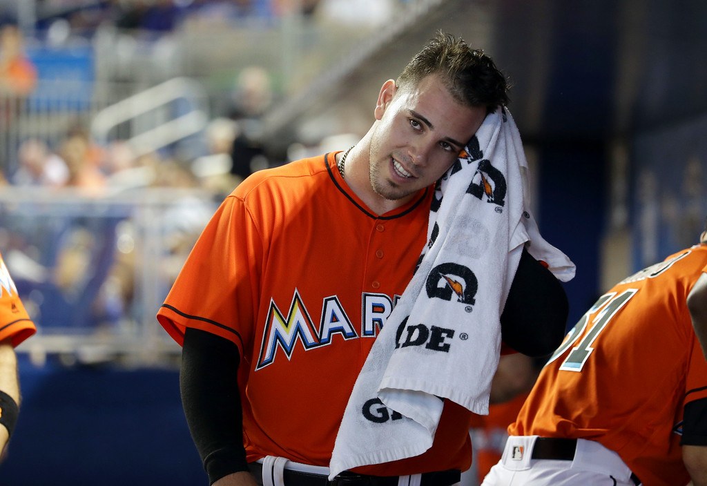 . Miami Marlins starting pitcher Jose Fernandez wipes his face with a towel after throwing during the fifth inning of a baseball game against the New York Mets, Sunday, June 5, 2016, in Miami. (AP Photo/Lynne Sladky)