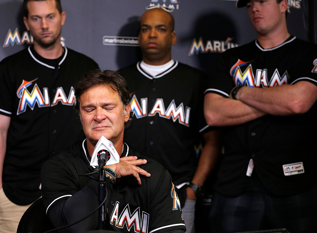 . Miami Marlins manager Don Mattingly struggles with his emotions as he speaks during the team\'s press conference about the death of Jose Fernandez, Sunday, Sept. 25, 2016, after the announcement of the death of their star pitcher, Fernandez, in an early morning boat accident Sunday, in Miami Beach. (Carl Juste/Miami Herald via AP)
