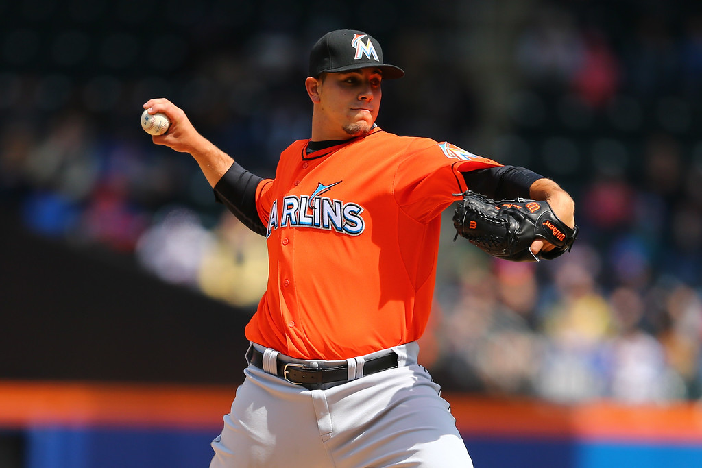 . NEW YORK, NY - APRIL 07:  Jose Fernandez #16 of the Miami Marlins pitches against the New York Mets during their game on April 7, 2013 at Citi Field in the Flushing neighborhood of the Queens borough of New York City.  (Photo by Al Bello/Getty Images)