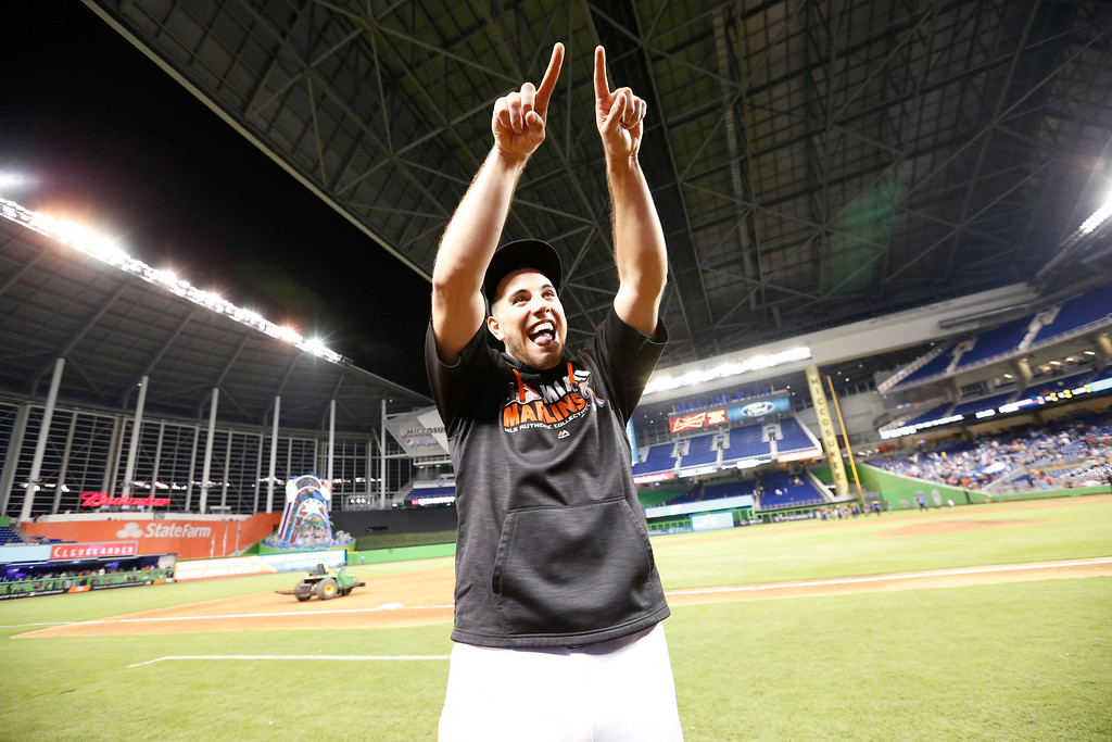 . Miami Marlins starting pitcher Jose Fernandez gestures to the stands after the Marlins defeated the Los Angeles Dodgers in a baseball game, Friday, Sept. 9, 2016, in Miami. Fernandez tied a career high with 14 strikeouts. (AP Photo/Wilfredo Lee)