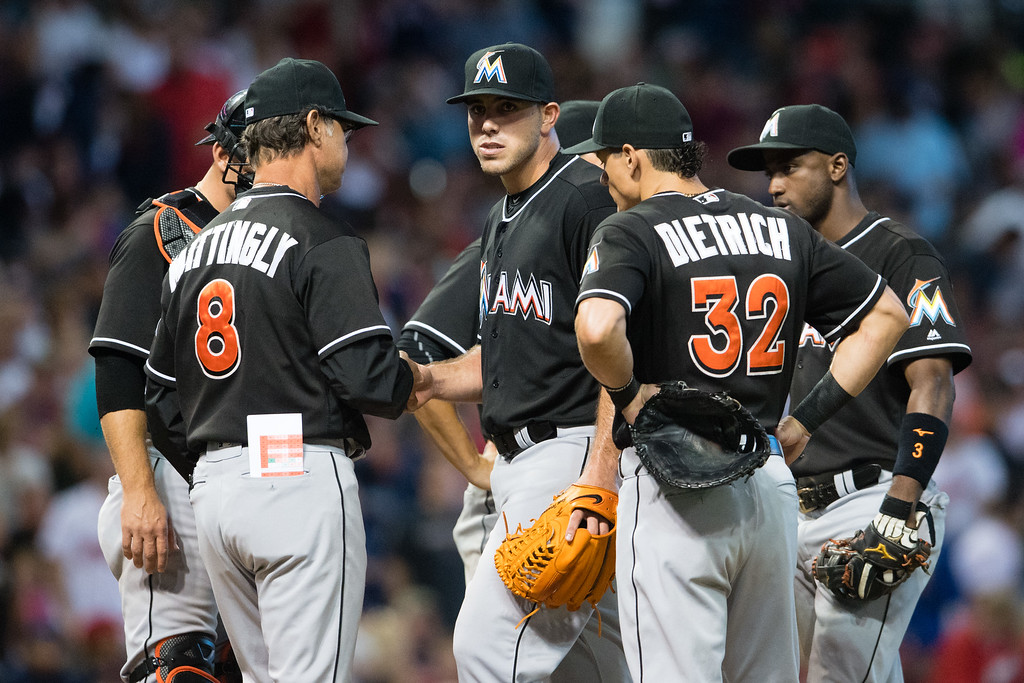 . CLEVELAND, OH - SEPTEMBER 3: Manager Don Mattingly #8 removes starting pitcher Jose Fernandez #16 of the Miami Marlins from the game during the sixth inning against the Cleveland Indians during an interleague game at Progressive Field on September 3, 2016 in Cleveland, Ohio. (Photo by Jason Miller/Getty Images)