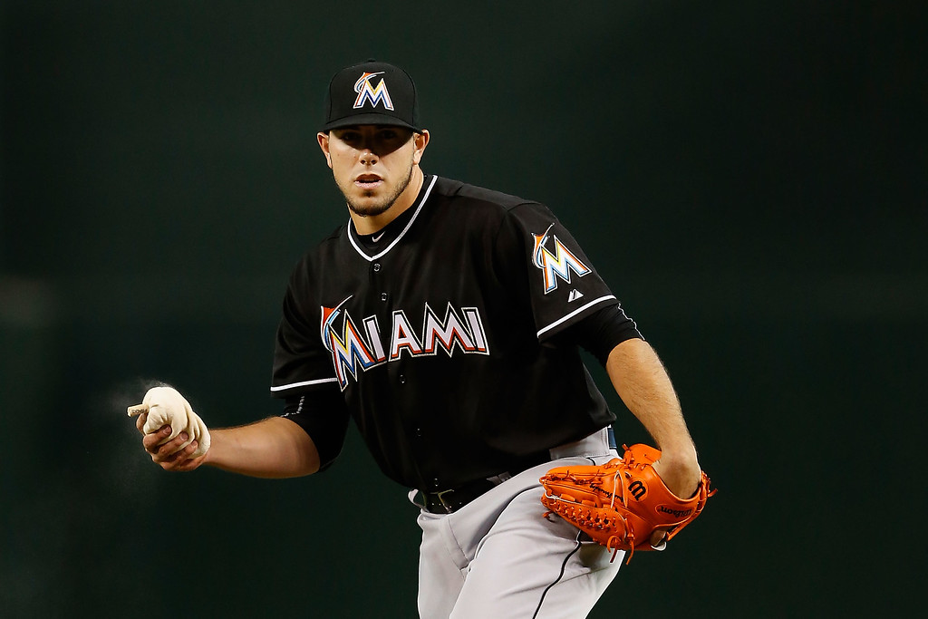 . PHOENIX, AZ - JULY 22:  Starting pitcher Jose Fernandez #16 of the Miami Marlins prepares to hrows a pitch during the MLB game against the Arizona Diamondbacks at Chase Field on July 22, 2015 in Phoenix, Arizona.  (Photo by Christian Petersen/Getty Images)