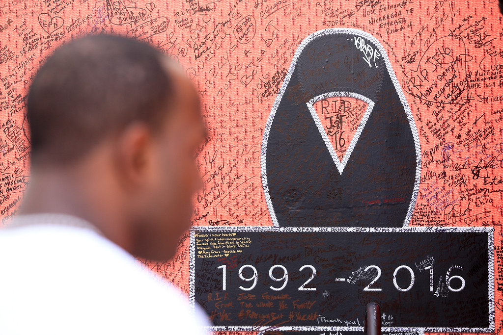 . MIAMI, FL - SEPTEMBER 28: A detailed view of a memorial wall in honor of Jose Fernandez on September 28, 2016 in Miami, Florida. Mr. Fernandez was killed in a weekend boat crash in Miami Beach along with two friends.  (Photo by Rob Foldy/Getty Images)