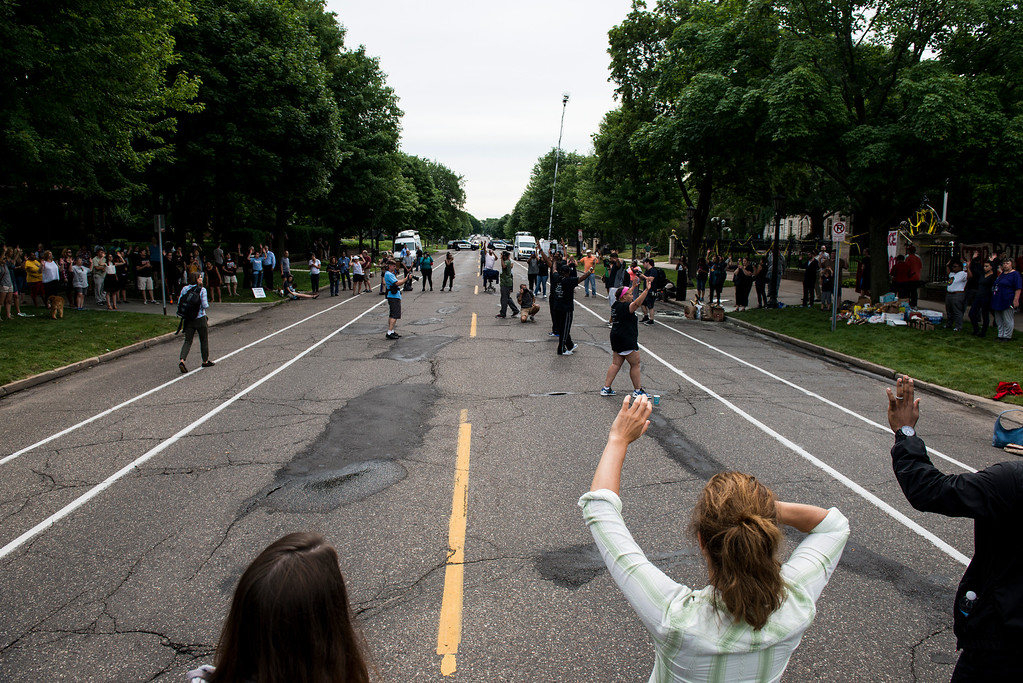 . ST. PAUL, MN - JULY 07: Activists and community members protest the killing of Philando Castile outside the Governor\'s Mansion on July 7, 2016 in St. Paul, Minnesota. Castile was shot and killed last night, July 6, 2016, by a police officer in Falcon Heights, MN. (Photo by Stephen Maturen/Getty Images)