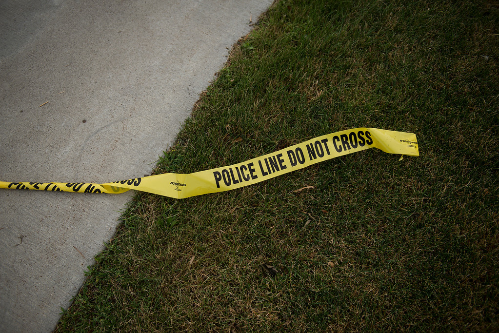 . FALCON HEIGHTS, MN - JULY 07: Police tape left Larpenteur Avenue following the police shooting death of a black man on July 7, 2016 in St. Paul, Minnesota. Philando Castile was shot and killed last night, July 6, 2016, by a police officer in Falcon Heights, MN. (Photo by Stephen Maturen/Getty Images)