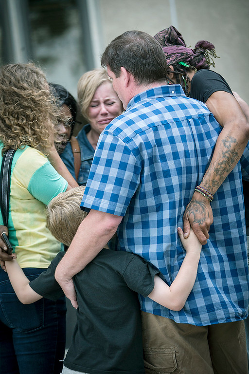 . Family and friends of Valerie Castile and Philando Castile walked out of the courthouse in shock after Geronimo Yanez was found not guilty on all counts in the shooting death of Philander Castile, Friday, June 16, 2017 in St. Paul, Minn. (Elizabeth Flores/Star Tribune via AP)