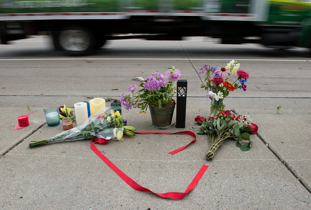 . FALCON HEIGHTS, MN - JULY 07: A memorial left for Philando Castile following the police shooting death of a black man on July 7, 2016 in St. Paul, Minnesota. Philando Castile was shot and killed last night, July 6, 2016, by a police officer in Falcon Heights, MN. (Photo by Stephen Maturen/Getty Images)