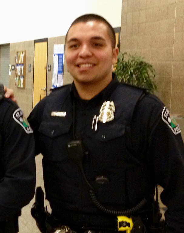 . FILE - This Jan. 8, 2013, file photo provided by Christian Dobratz shows St. Anthony police officer Jeronimo Yanez outside the city council chambers in St. Anthony, Minn. Prosecutors announced Wednesday, Nov. 16, 2016, that Yanez, the officer who fatally shot Philando Castile during a traffic stop on July 6, 2016, in Falcon Heights, Minn., has been charged with second-degree manslaughter in the killing. (Christian Dobratz via AP, File)