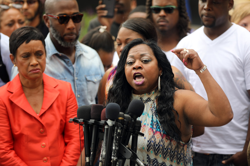 . Valerie Castile, mother of Philando Castile, spoke with passion about her reaction to a not guity verdict for Officer Jeronimo Yanez at the Ramsey County Courthouse in St. Paul, Minn., on Friday June 16, 2017.  (Renee Jones Schneider/Star Tribune via AP)