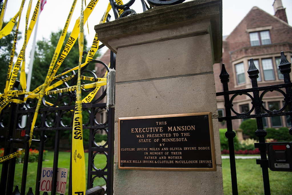 . ST. PAUL, MN - JULY 07: A police tape is draped over the entrance of the Governor\'s Mansion following the police shooting death of a black man on July 7, 2016 in St. Paul, Minnesota. Philando Castile was shot and killed last night, July 6, 2016, by a police officer in Falcon Heights, MN. (Photo by Stephen Maturen/Getty Images)
