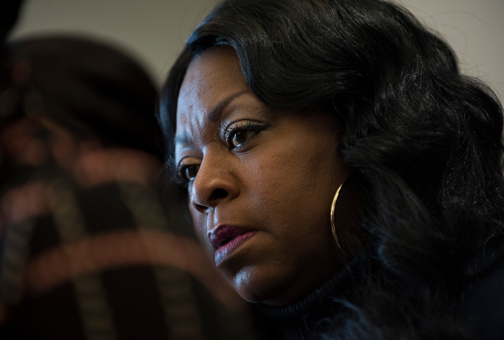 . MINNEAPOLIS, MN - NOVEMBER 16: Valerie Castile, mother of Philando Castile, listens on during a press conference on November 16, 2016 in Minneapolis, Minnesota. Ramsey County Attorney John Choi filed charges today against St. Anthony Police Officer Jeronimo Yanez who shot and killed Castile during a traffic stop this past July. (Photo by Stephen Maturen/Getty Images)