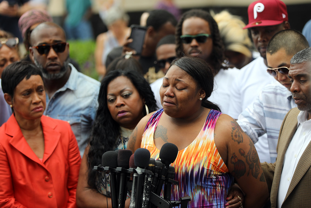 . Allysza Castile, sister of Philando Castile, crowd as she spoke about her reaction to a not guilty verdict for Officer Jeronimo Yanez at the Ramsey County Courthouse in St. Paul, Minn., on Friday June 16, 2017. (Renee Jones Schneider/Star Tribune via AP)