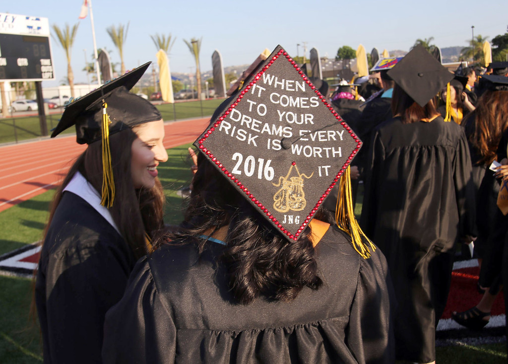 . A Northview High School graduate decorates her cap with a positive message for the 2016 Northview High School Fifty-Fourth Annual Commencement, at Covina District Field, at Covina High School in Covina, CA., Tuesday, June 7, 2016.  (Photo by James Carbone for the San Gabriel Valley Tribune)