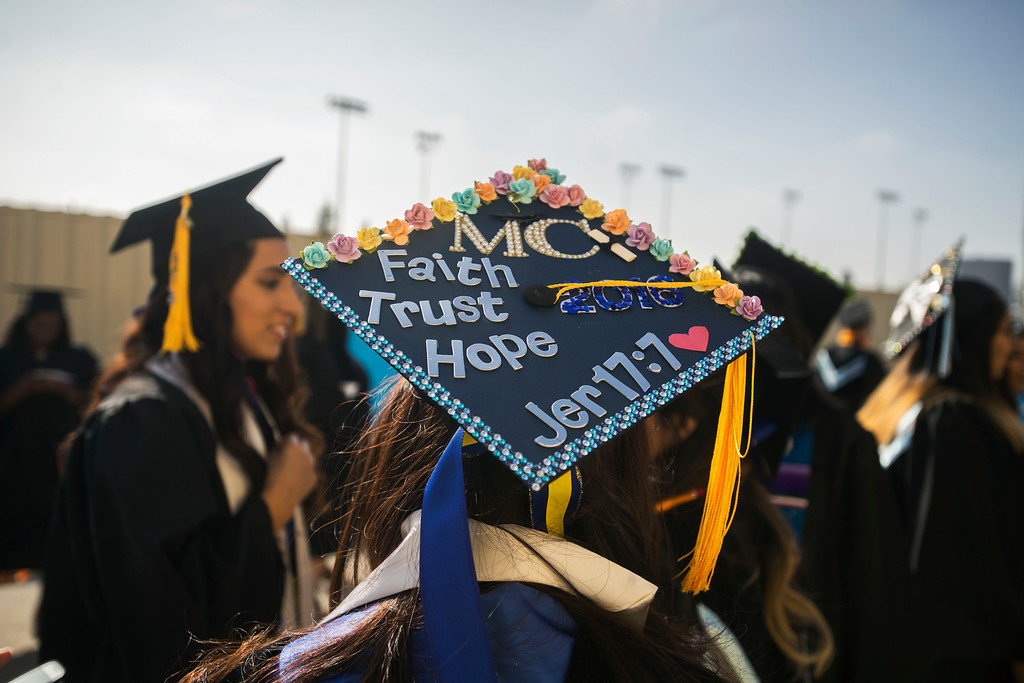 . Graduates decorated their caps for San Bernardino Valley College\'s 89th commencement ceremony held on Friday, May 27, 2016 in San Bernardino, Ca. (Sarah Alvarado for the Sun)