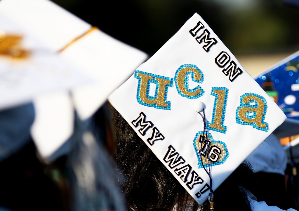 . Graduates decorated their caps for Duarte\'s 55th Commencement Ceremony at Duarte High School on Wednesday, June 8, 2016. (Correspondent photo by Trevor Stamp)