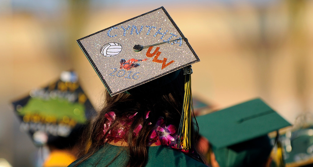 . One of many mortarboard hats during the South Hills High School commencement ceremony at Covina District Field in Covina, Calif., on Wednesday, June 8, 2016. (Photo by Libby Cline/ Pasadena Star-News)