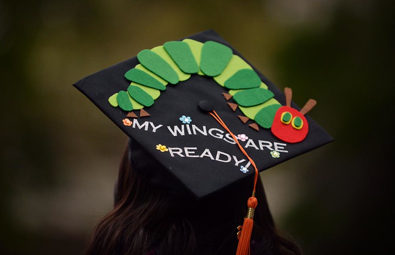 . A graduate\'s decorated cap is seen as the Cal Poly Pomona College of Engineering class of 2016 graduates on Sunday, June 12, 2016 at Cal Poly Pomona in Pomona, Ca.  (Micah Escamilla/Inland Valley Daily Bulletin)