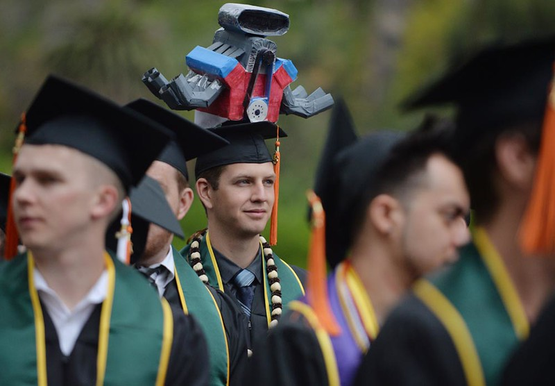 . Steven Baltau, 24, of Quartzsite, AZ, dons an elaborate cap as he joins classmates during the Cal Poly Pomona College of Engineering class of 2016 graduation ceremony on Sunday, June 12, 2016 at Cal Poly Pomona in Pomona, Ca.  (Micah Escamilla/Inland Valley Daily Bulletin)