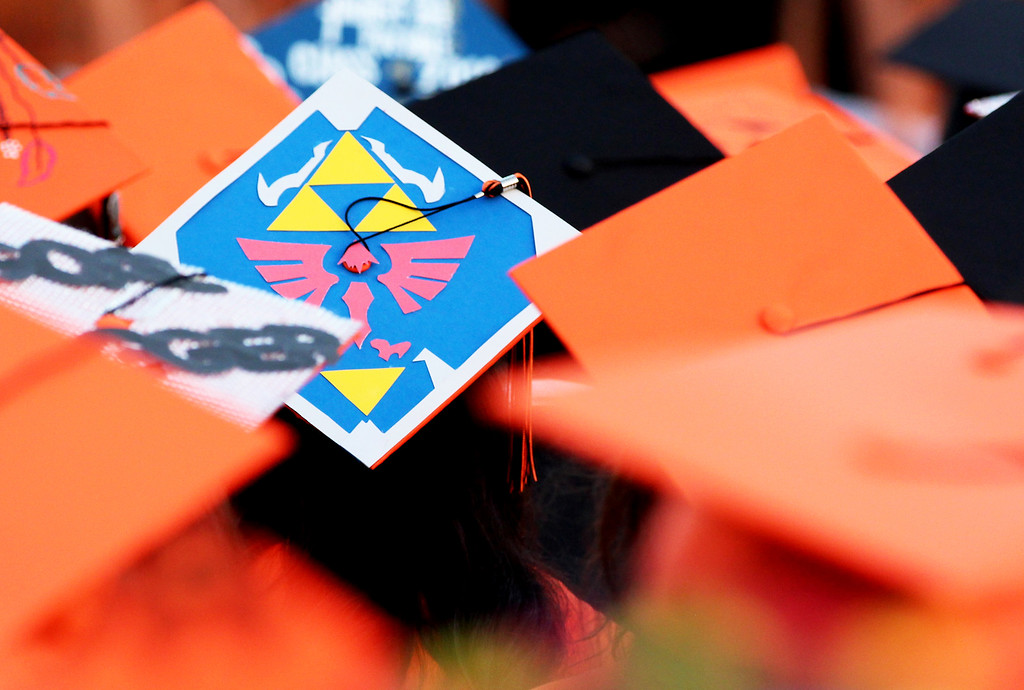 . Graduates decorated their caps for  La Puente High School\'s 101st commencement ceremony at La Puente High School in La Puente, Calif. on Thursday, May 19, 2016. Over 330 students graduated in the ceremony.  (Correspondent photo by Trevor Stamp)