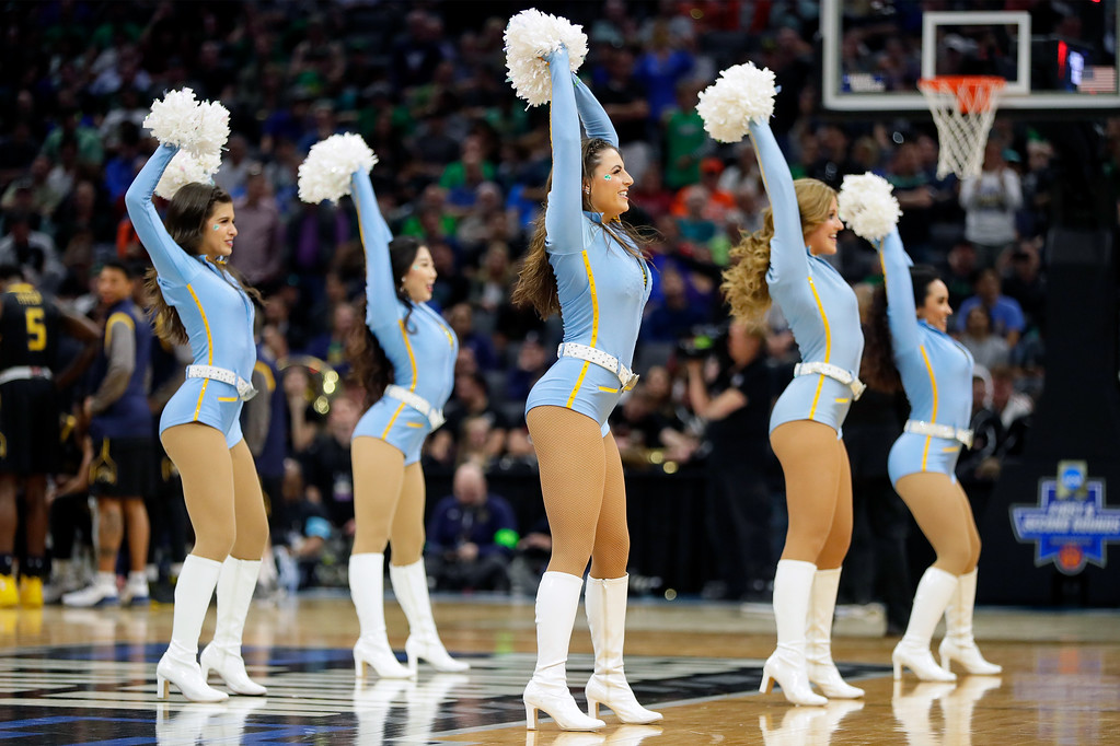 . SACRAMENTO, CA - MARCH 17:  The UCLA Bruins cheerleaders cheer on their team against the Kent State Golden Flashes during the first round of the 2017 NCAA Men\'s Basketball Tournament at Golden 1 Center on March 17, 2017 in Sacramento, California.  (Photo by Jamie Squire/Getty Images)